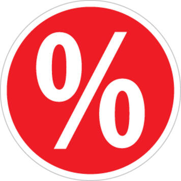 Stiker u obliku procenta,okrugli