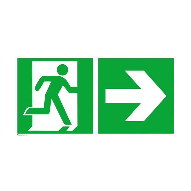 Rettungszeichen Notausgang rechts mit Richtungspfeil rechts
