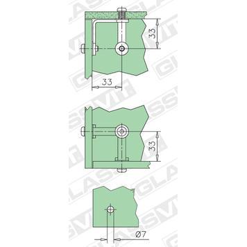 stakleni konektor za samougradne vitrine